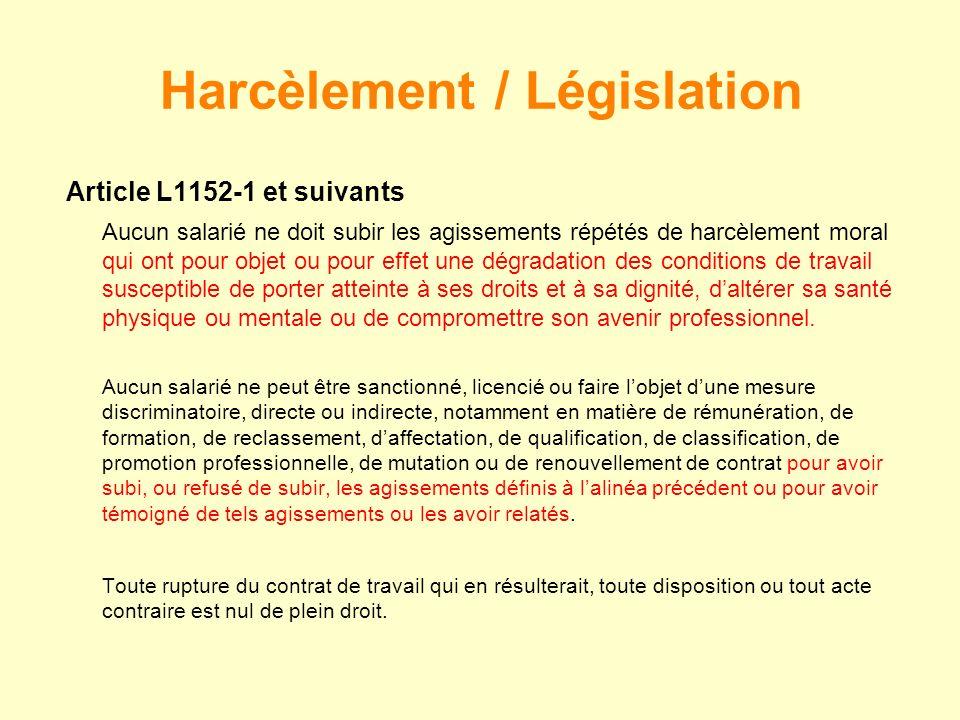 Harcèlement / Législation