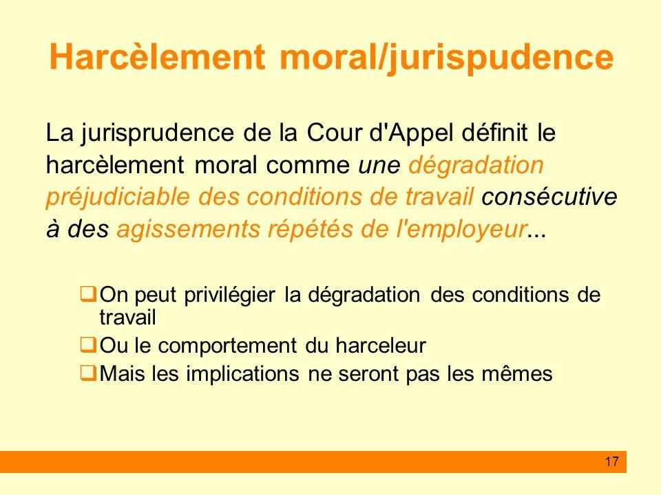 Harcèlement moral/jurispudence