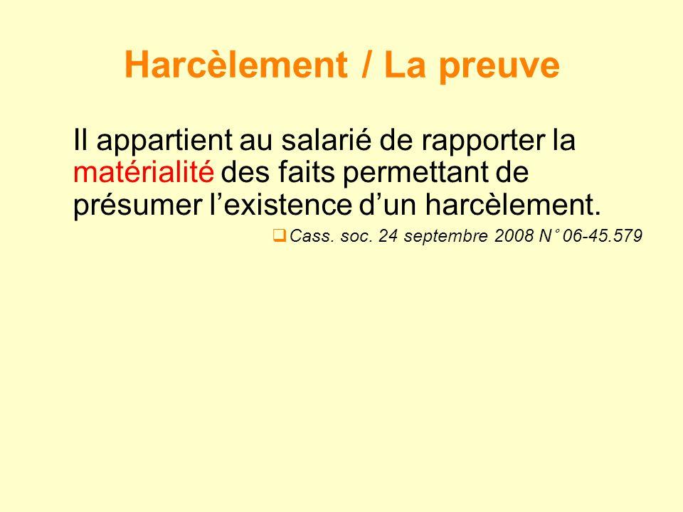 Harcèlement / La preuve
