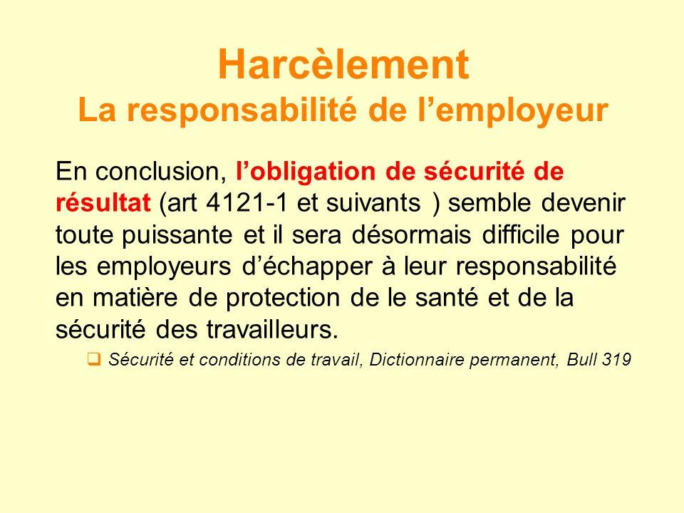 La responsabilité de l'employeur