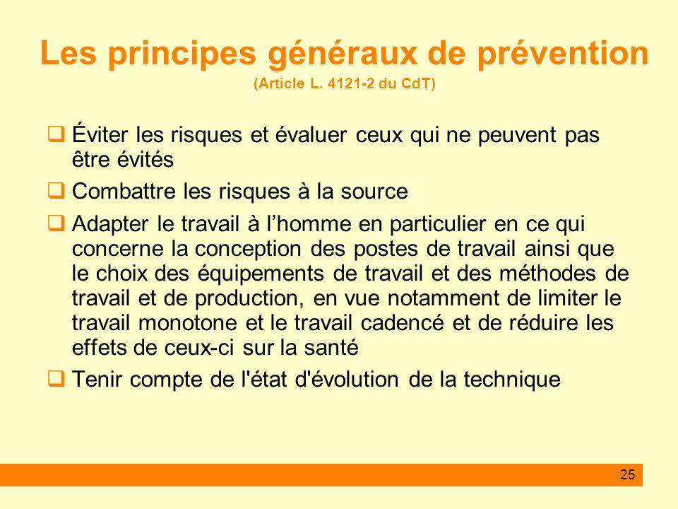 Les principes généraux de prévention (Article L. 4121-2 du CdT)