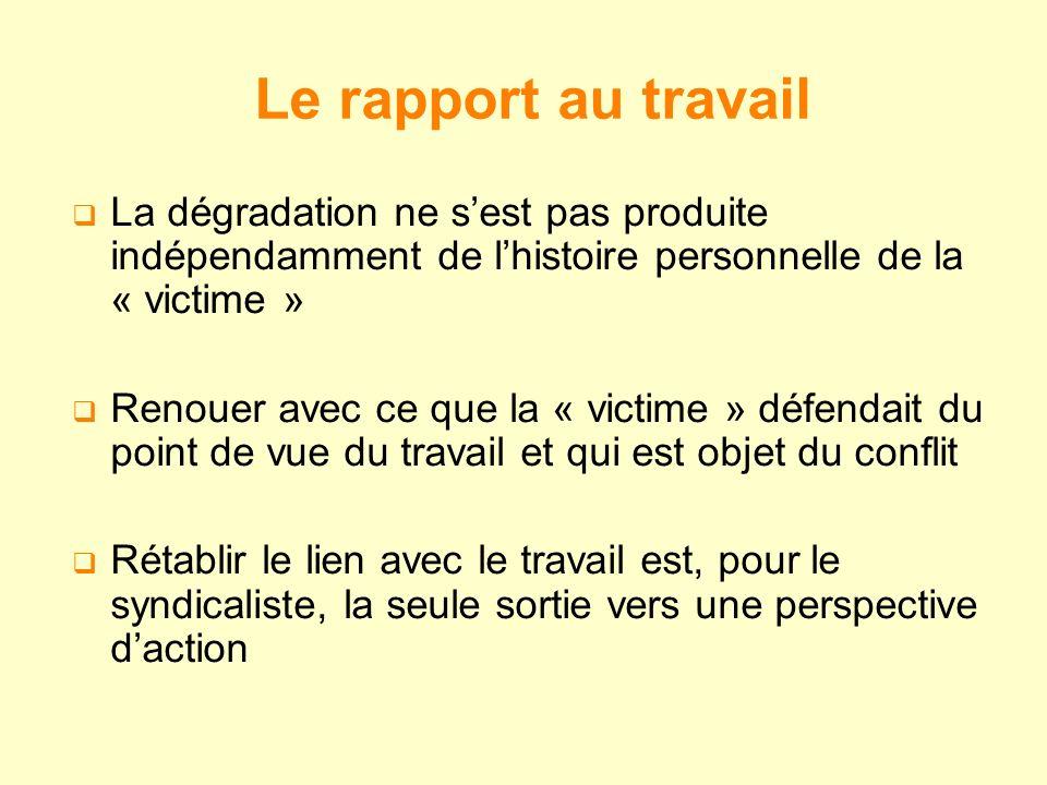 Le rapport au travail La dégradation ne s'est pas produite indépendamment de l'histoire personnelle de la « victime »