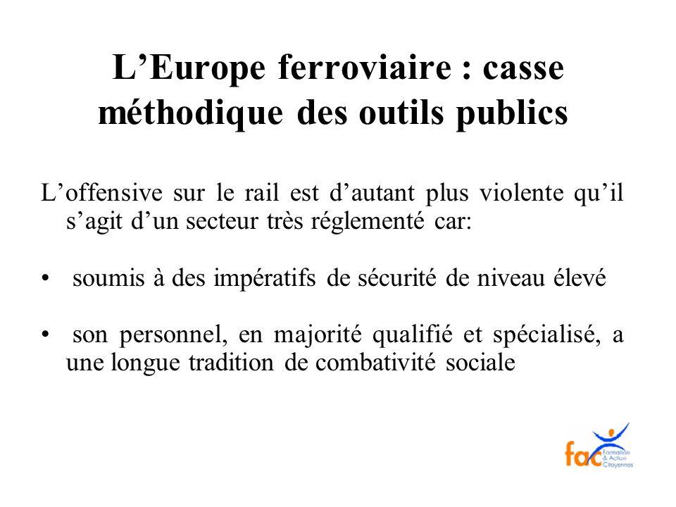 L'Europe ferroviaire : casse méthodique des outils publics