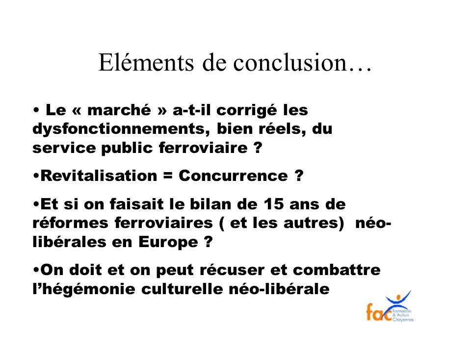Eléments de conclusion…