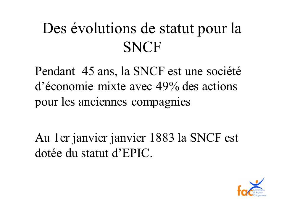 Des évolutions de statut pour la SNCF