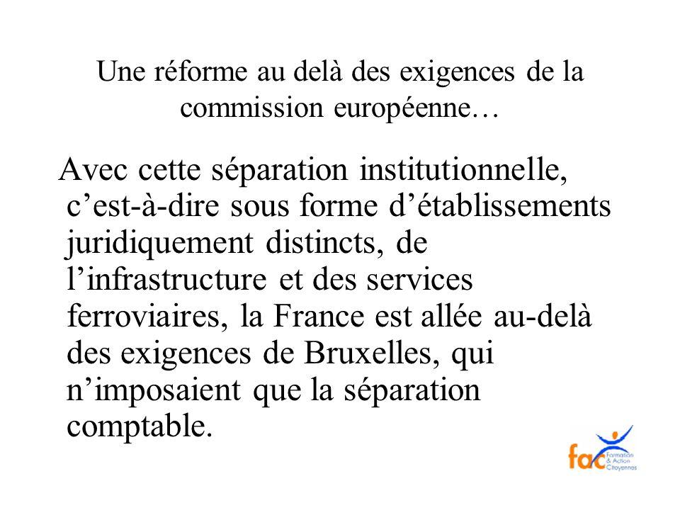Une réforme au delà des exigences de la commission européenne…