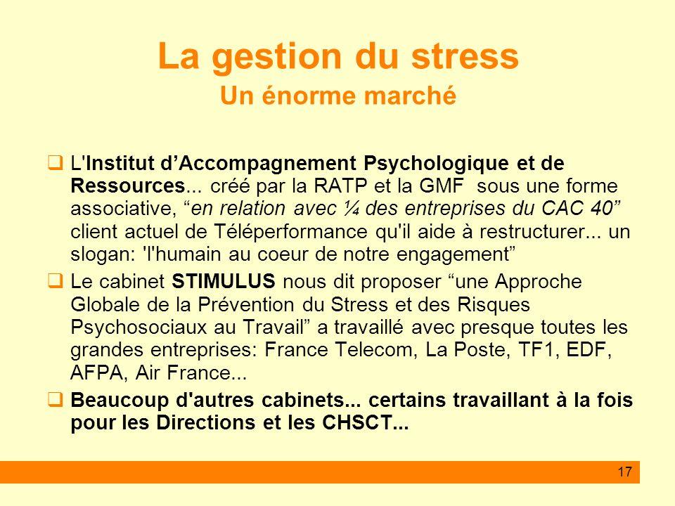 La gestion du stress Un énorme marché