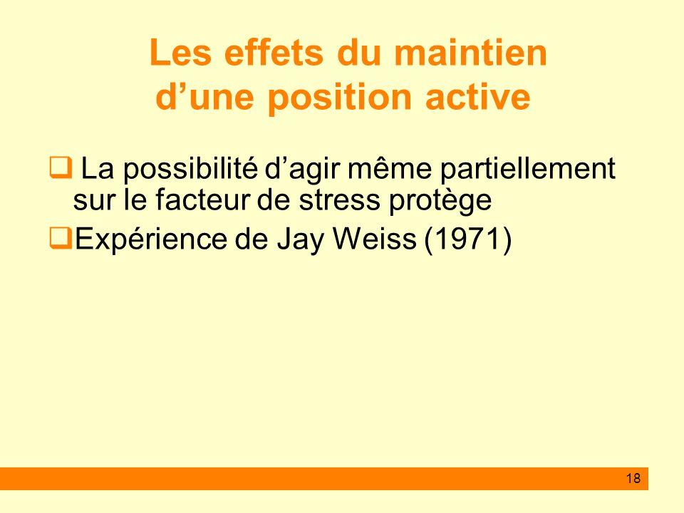 Les effets du maintien d'une position active