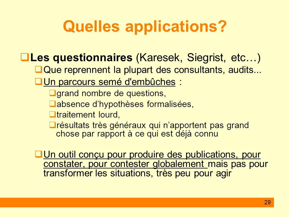 Quelles applications Les questionnaires (Karesek, Siegrist, etc…)