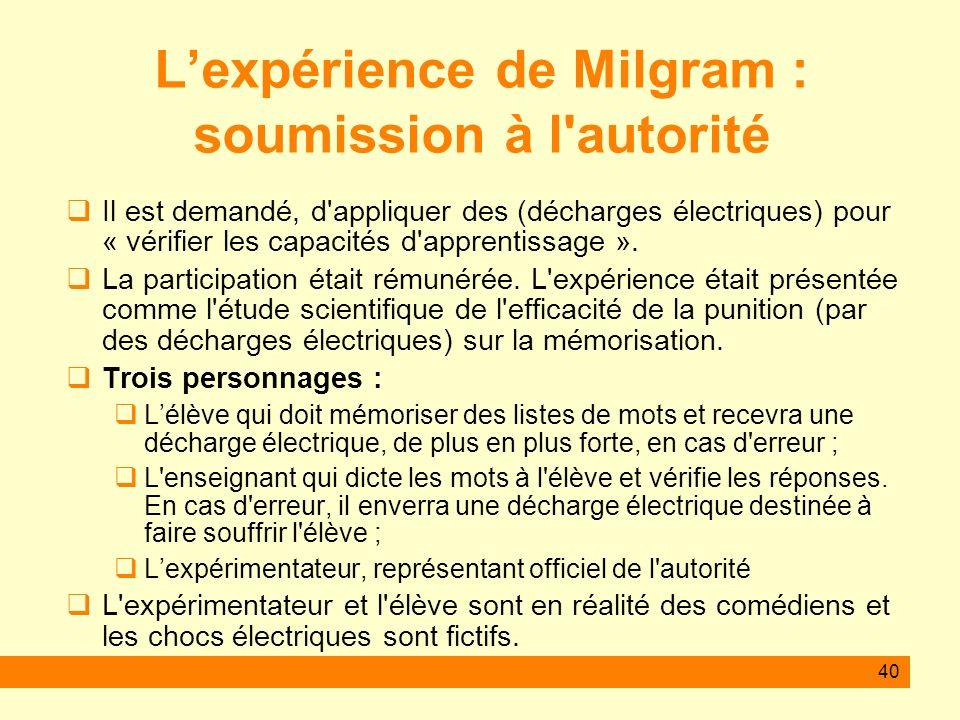 L'expérience de Milgram : soumission à l autorité