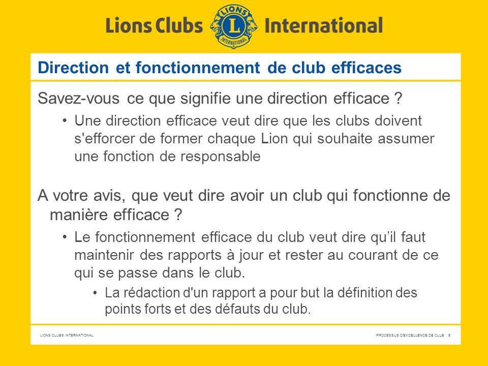 Direction et fonctionnement de club efficaces