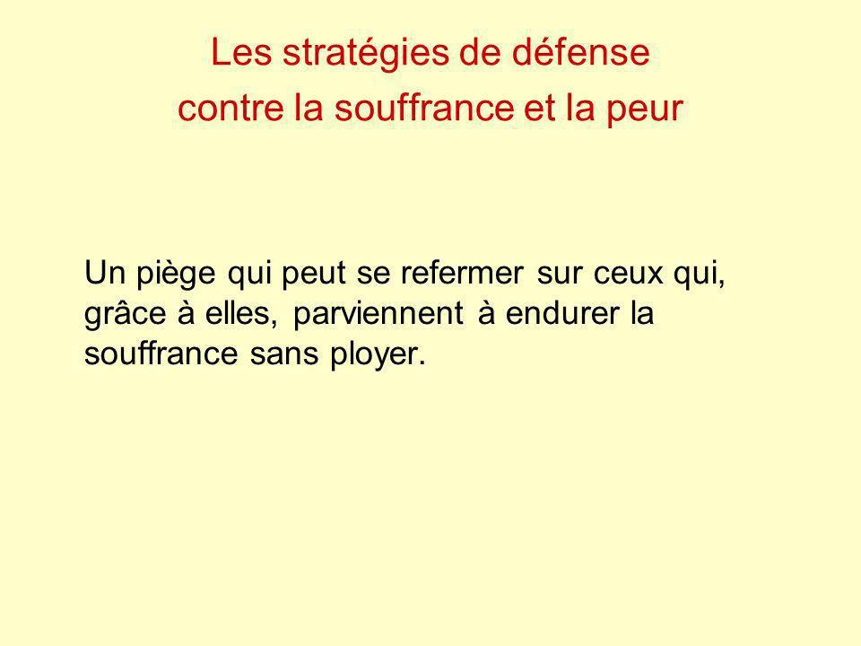 Les stratégies de défense contre la souffrance et la peur