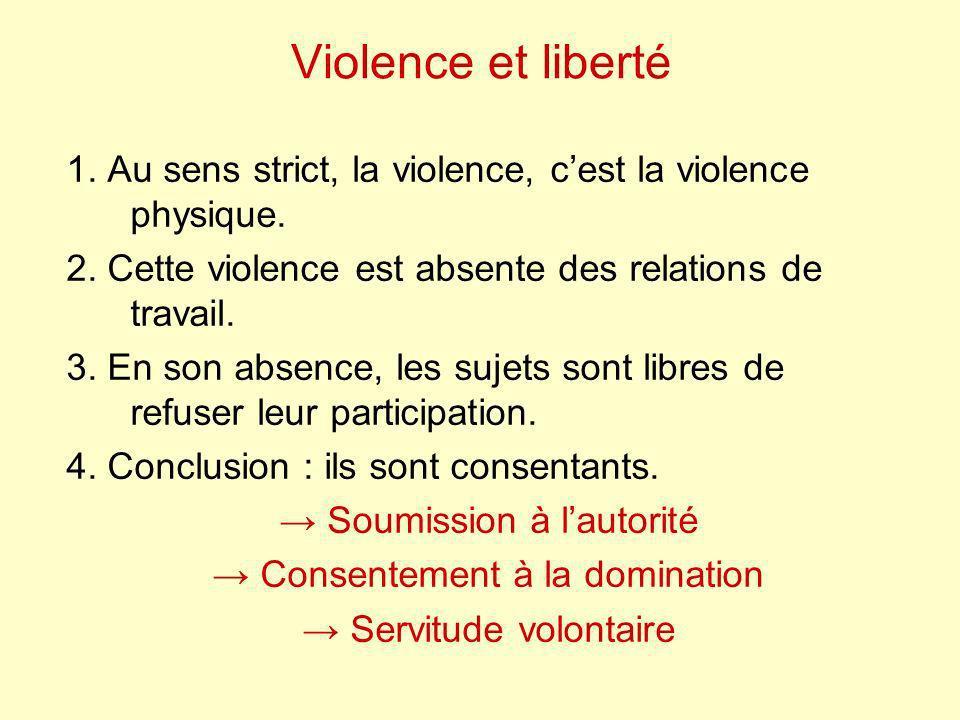 Violence et liberté 1. Au sens strict, la violence, c'est la violence physique. 2. Cette violence est absente des relations de travail.