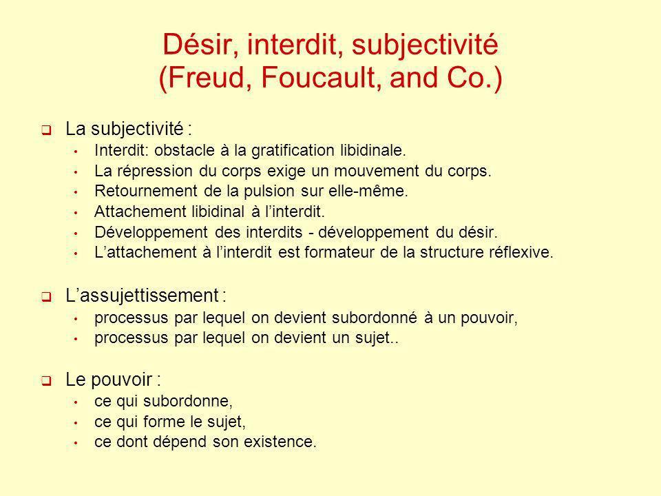 Désir, interdit, subjectivité (Freud, Foucault, and Co.)