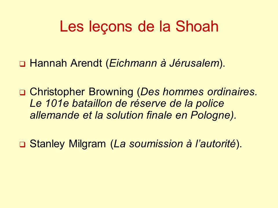 Les leçons de la Shoah Hannah Arendt (Eichmann à Jérusalem).
