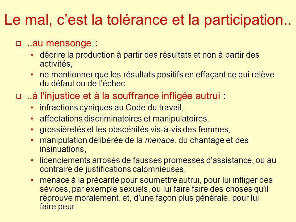 Le mal, c'est la tolérance et la participation..