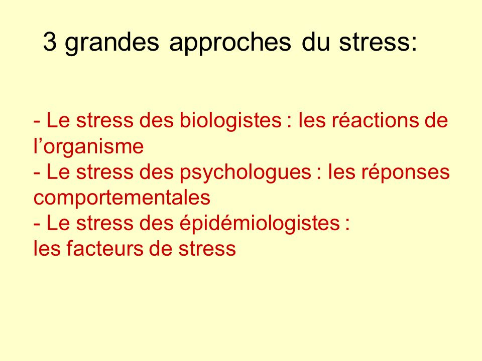 3 grandes approches du stress: