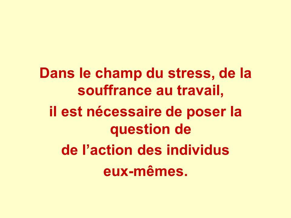 Dans le champ du stress, de la souffrance au travail,