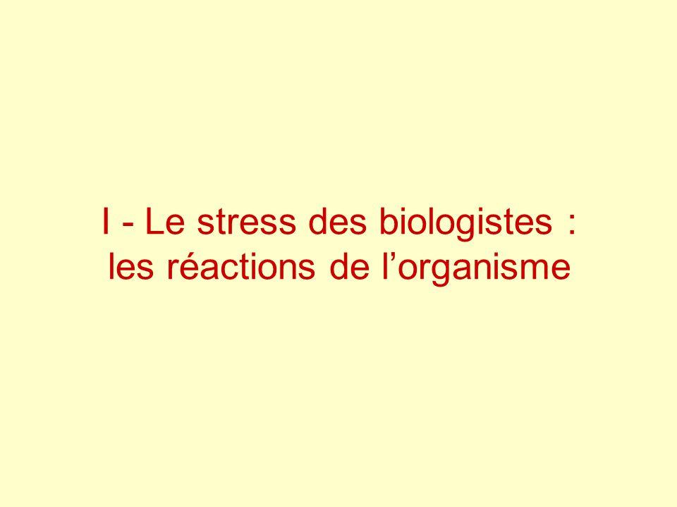 I - Le stress des biologistes : les réactions de l'organisme