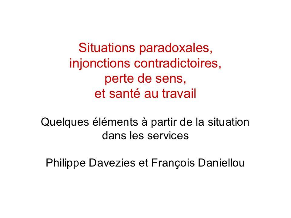 Situations paradoxales, injonctions contradictoires, perte de sens,