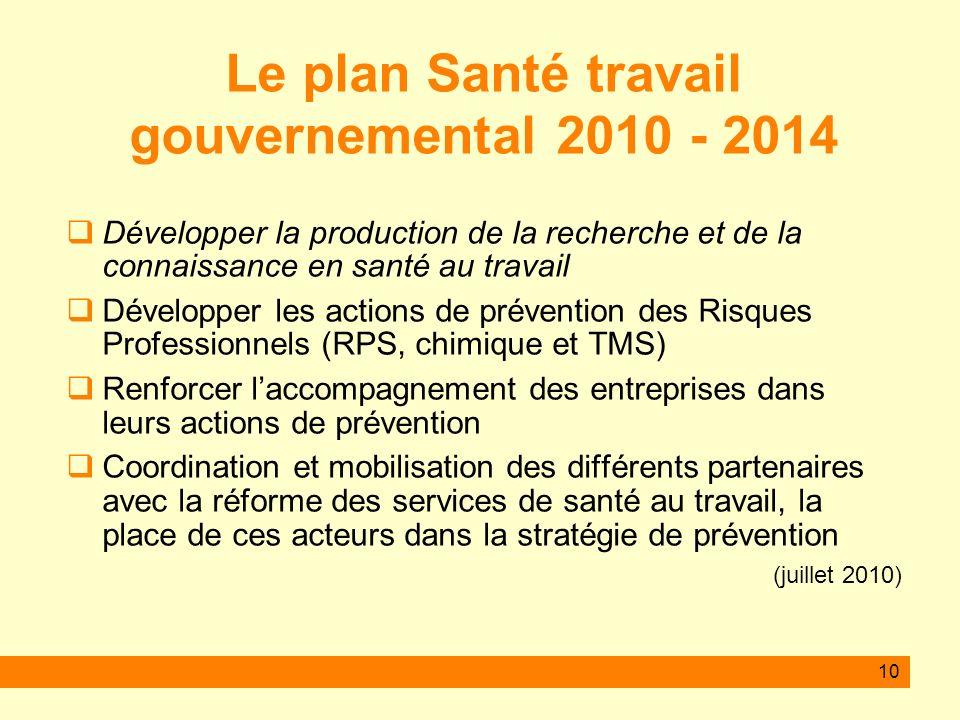 Le plan Santé travail gouvernemental 2010 - 2014