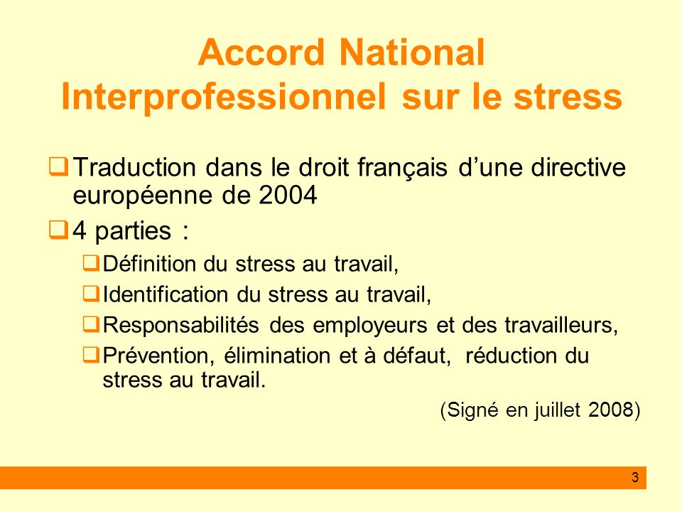 Accord National Interprofessionnel sur le stress