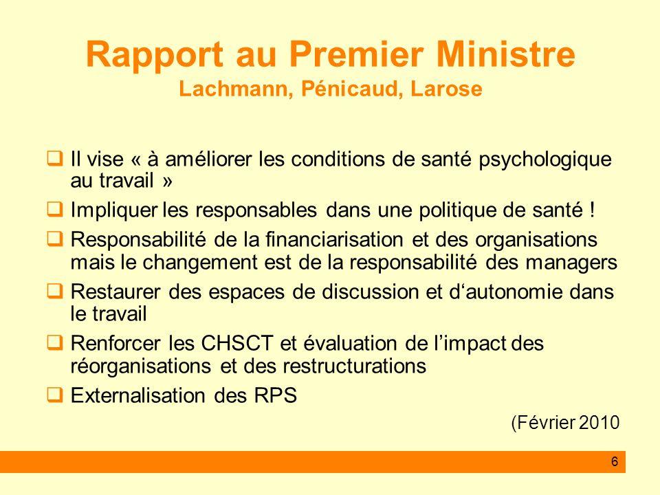 Rapport au Premier Ministre Lachmann, Pénicaud, Larose