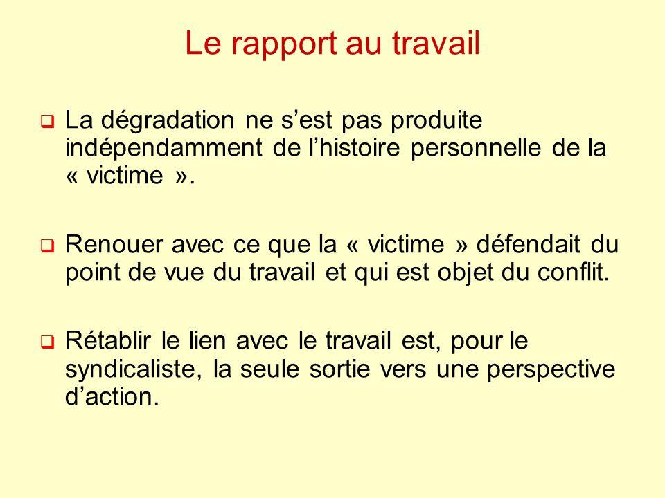 Le rapport au travail La dégradation ne s'est pas produite indépendamment de l'histoire personnelle de la « victime ».