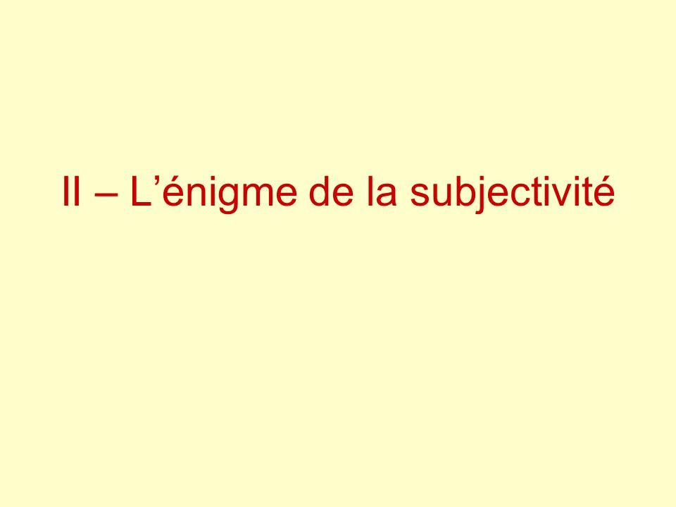 II – L'énigme de la subjectivité