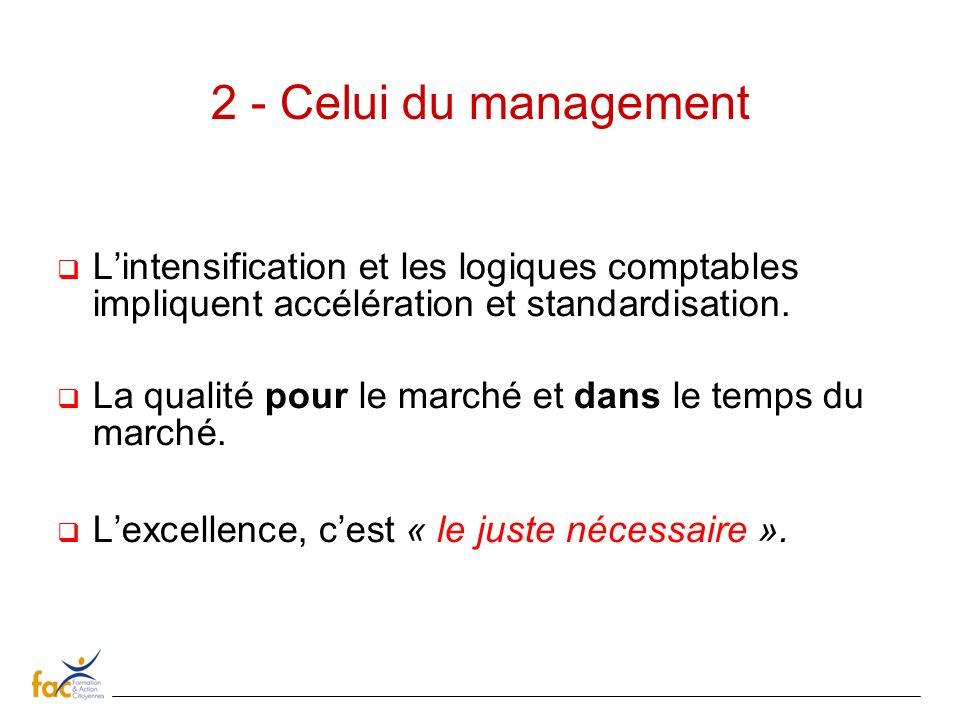 2 - Celui du management L'intensification et les logiques comptables impliquent accélération et standardisation.