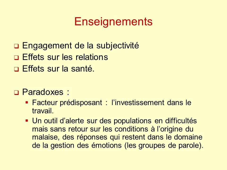 Enseignements Engagement de la subjectivité Effets sur les relations