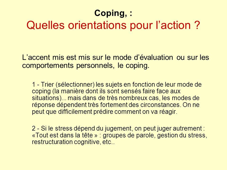 Coping, : Quelles orientations pour l'action