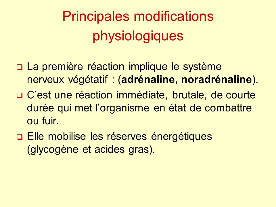 Principales modifications physiologiques