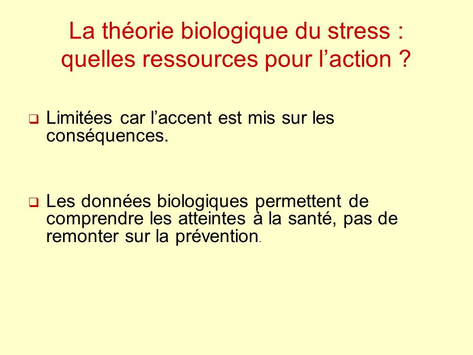 La théorie biologique du stress : quelles ressources pour l'action