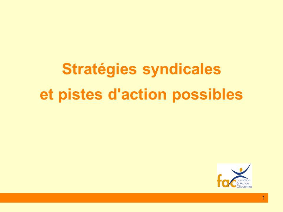 Stratégies syndicales et pistes d action possibles