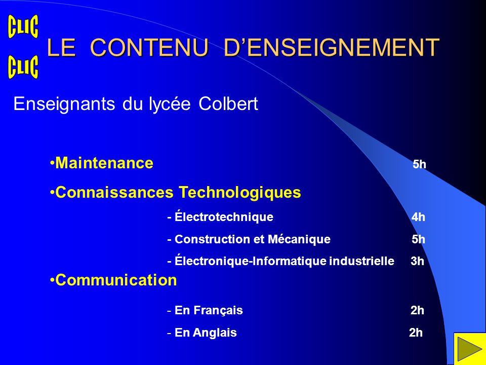 LE CONTENU D'ENSEIGNEMENT