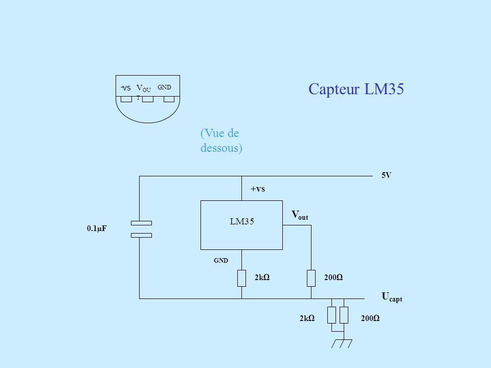 Capteur LM35 (Vue de dessous) Vout Ucapt +vs LM35 VOU T vs 5V 0.1µF