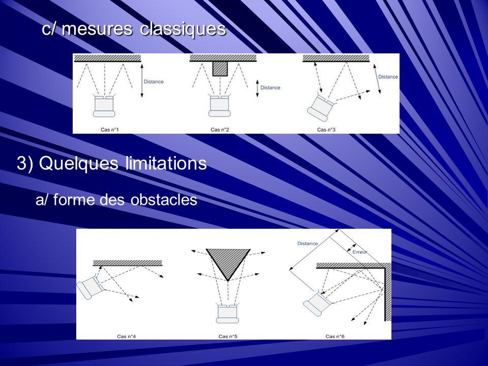c/ mesures classiques 3) Quelques limitations a/ forme des obstacles