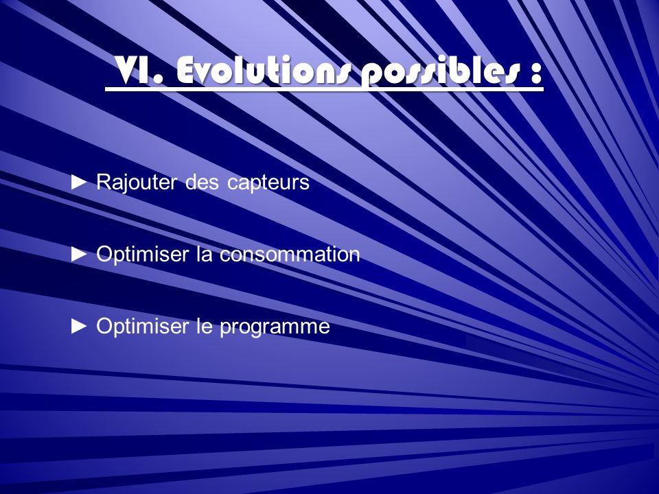 VI. Evolutions possibles :