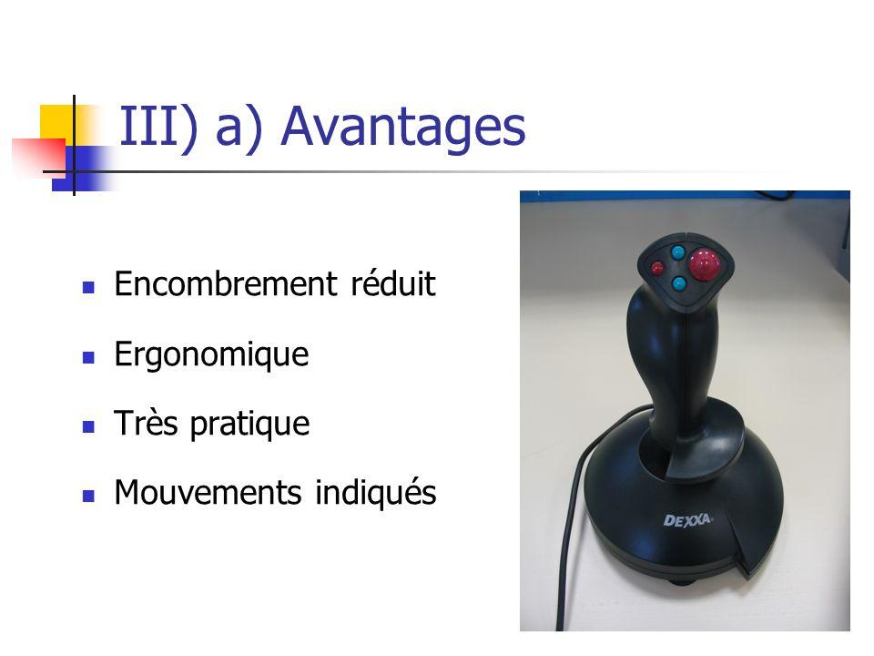 III) a) Avantages Encombrement réduit Ergonomique Très pratique