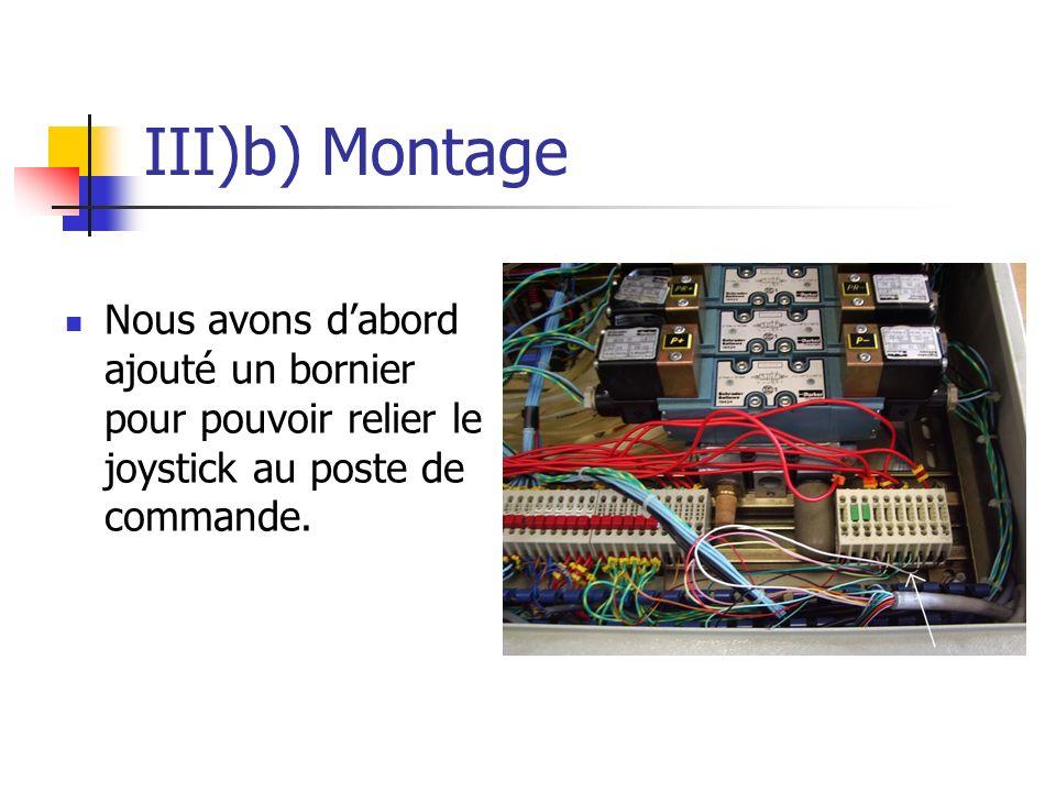 III)b) Montage Nous avons d'abord ajouté un bornier pour pouvoir relier le joystick au poste de commande.