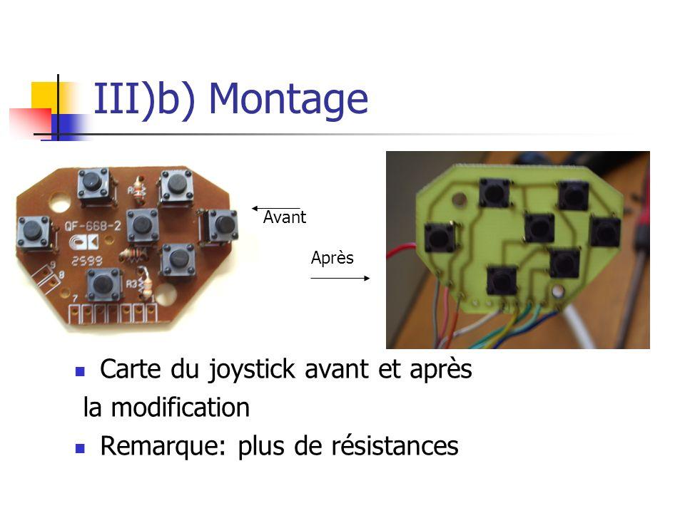 III)b) Montage Carte du joystick avant et après la modification