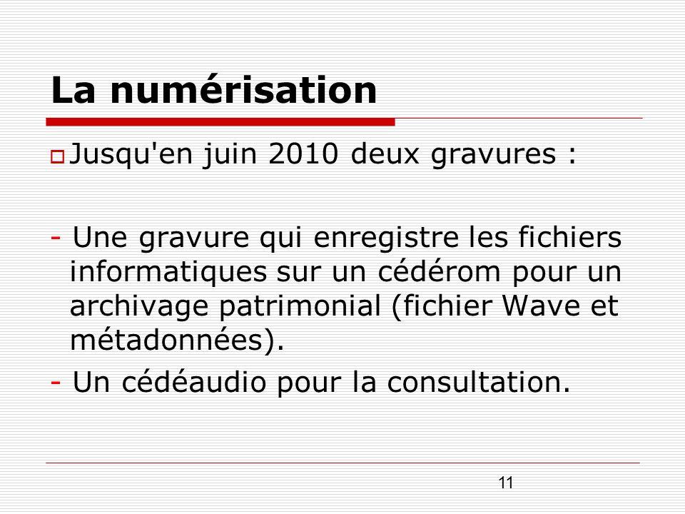 La numérisation Jusqu en juin 2010 deux gravures :