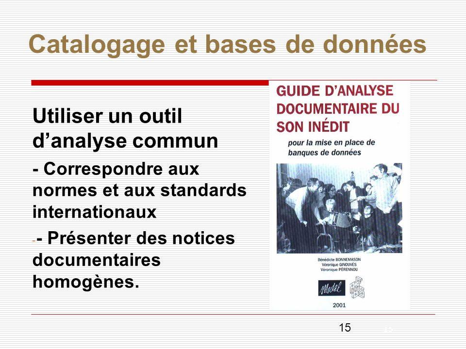 Catalogage et bases de données