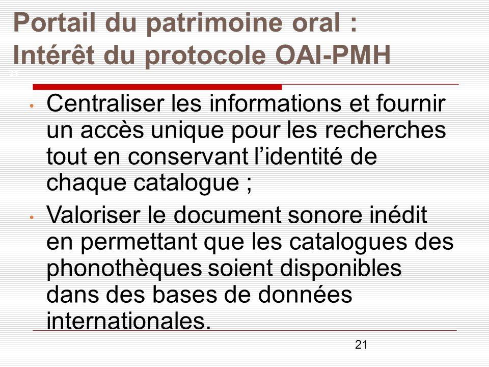 Portail du patrimoine oral : Intérêt du protocole OAI-PMH