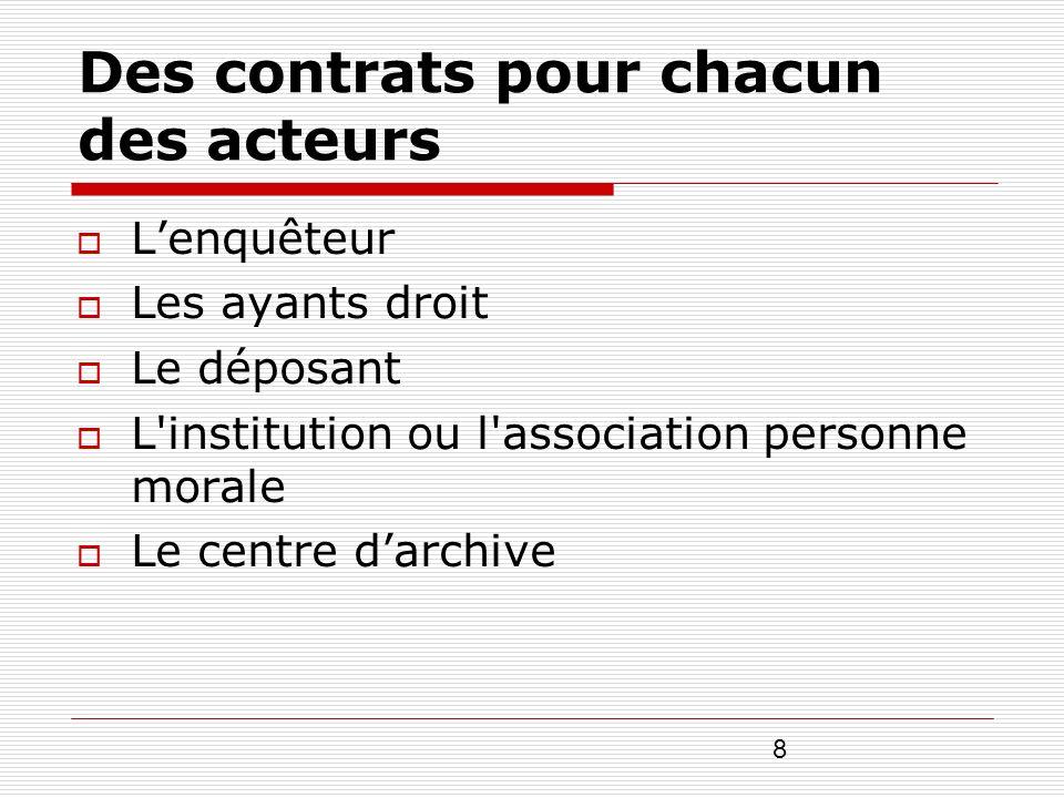 Des contrats pour chacun des acteurs