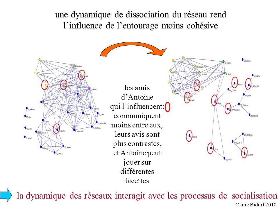 la dynamique des réseaux interagit avec les processus de socialisation