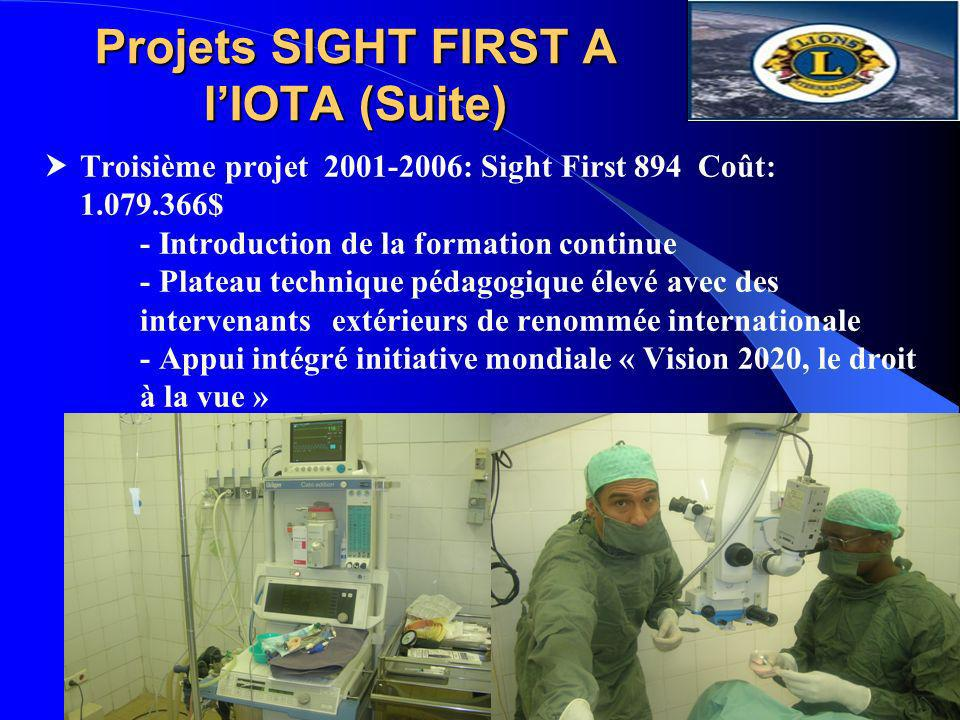 Projets SIGHT FIRST A l'IOTA (Suite)