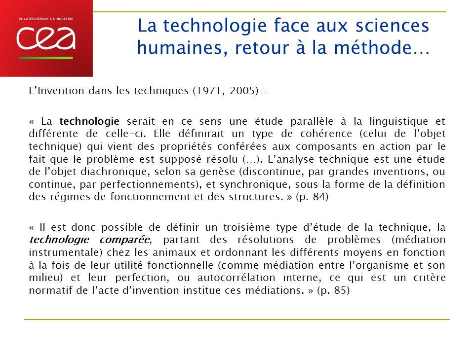 La technologie face aux sciences humaines, retour à la méthode…