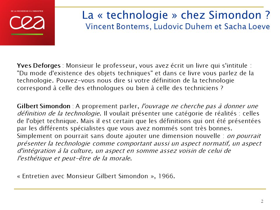 La « technologie » chez Simondon